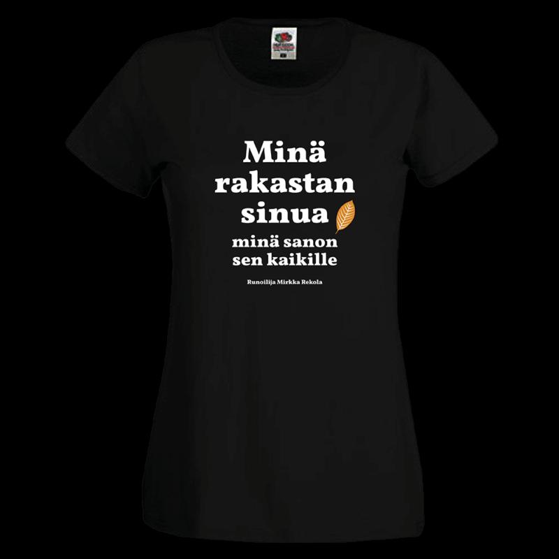 Kulttuuritoimituksen sitaattipaidassa Mirkka Rekolan runo