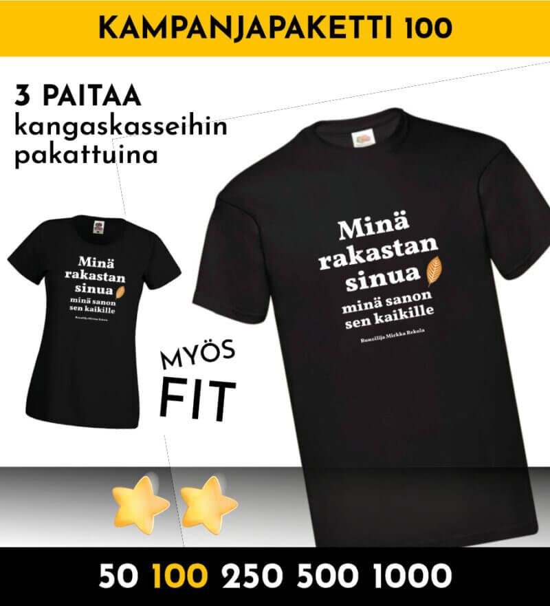 tonnilla paitoja kampanjapaita 100