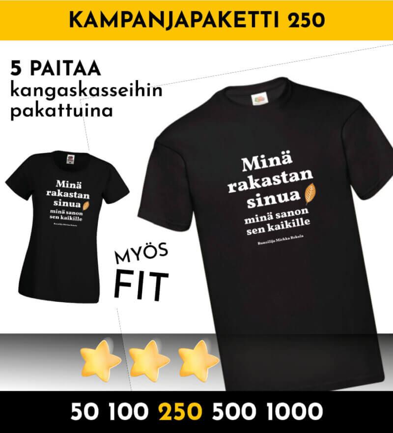tonnilla paitoja kampanjapaita 250