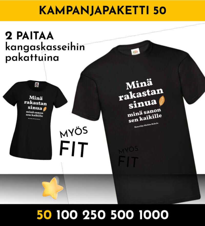 tonnilla paitoja kampanjapaita 50